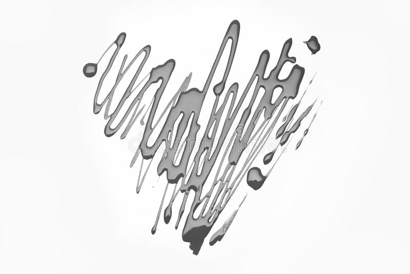 Jour de valentines et concept de beauté Symbole de l'amour peint avec le poli de rose sur la surface blanche photos libres de droits