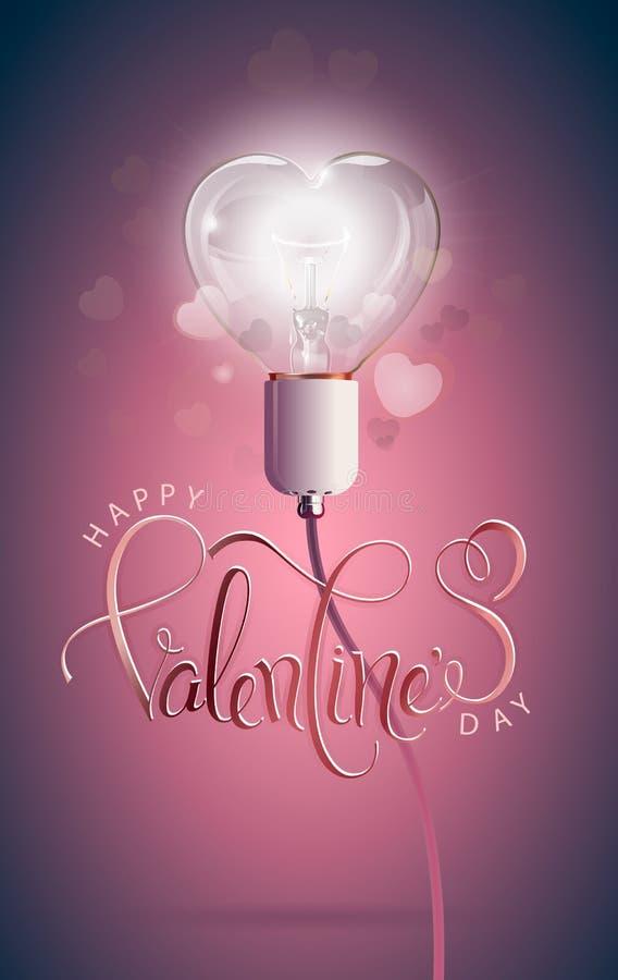 Jour de valentines heureux Ampoule électrique rougeoyante transparente avec le fond et la calligraphie de coeur de bokeh Forme de illustration libre de droits