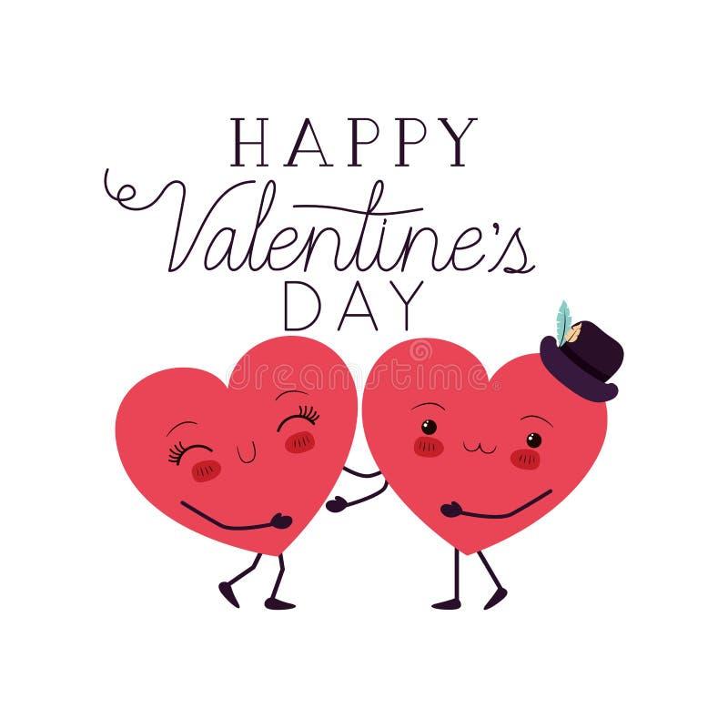 Jour de valentines heureux avec le caractère de kawaii d'amour de coeur illustration stock