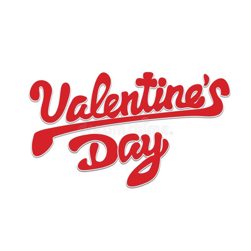 Jour de valentines heureux, belle inscription avec des ombres sur un fond élégant Texte manuscrit et calligraphique illustration de vecteur