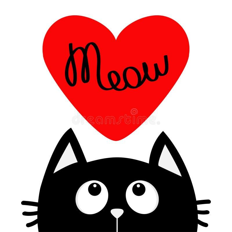 Jour de valentines heureux Chat noir recherchant au grand coeur rouge Texte de miaulement Personnage de dessin animé mignon Anima illustration stock