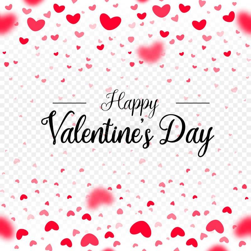 Jour de valentines heureux, coeurs rouges de papier de vecteur tombant, calibre de frontière de carte sur le fond transparent bla illustration libre de droits