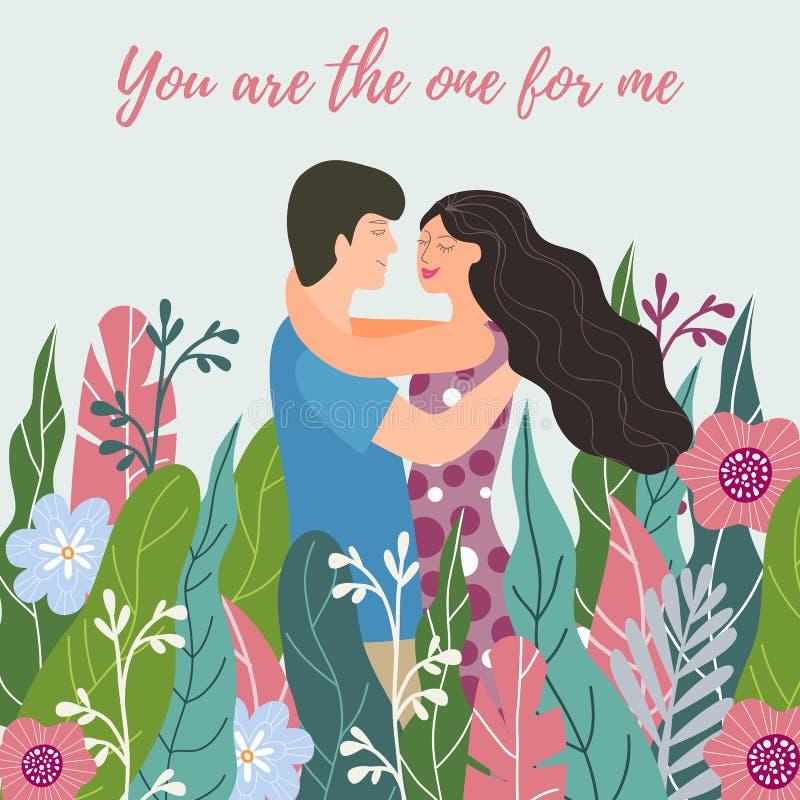 Jour de valentines heureux Couples dans l'amour parmi des fleurs Concevez l'élément pour la carte, l'affiche, la bannière, l'inse illustration stock