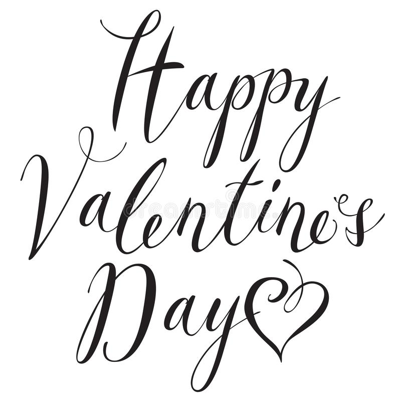Jour de valentines heureux d'inscription noire avec des coeurs illustration stock