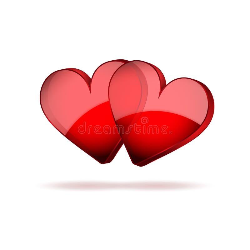 Jour de valentines heureux de coeurs du fond deux illustration libre de droits