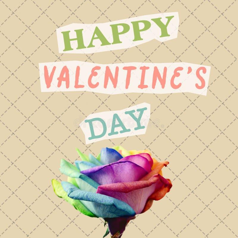 Jour de valentines heureux des textes en collage contemporain image stock