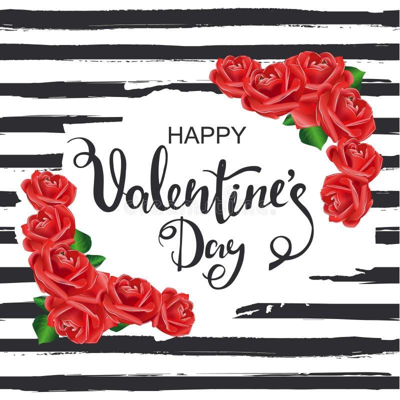Jour de valentines heureux Fond rayé avec de belles roses rouges illustration stock