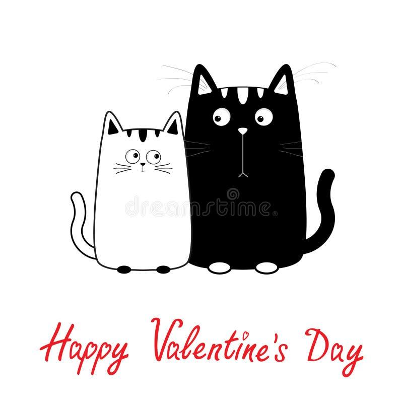 Jour de valentines heureux Garçon de chat de noir mignon de bande dessinée et famille blancs de fille Couples de Kitty la date Gr illustration stock