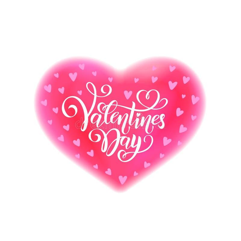 Jour de valentines heureux de inscription manuscrit de vecteur Saint-Valentin des textes de calligraphie dans l'effet rose d'aqua illustration libre de droits
