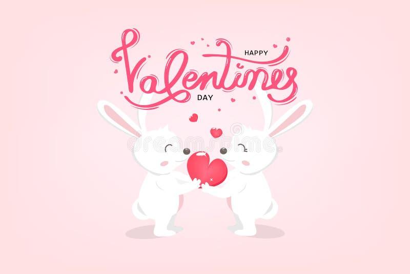 Jour de valentines heureux, le lapin blanc mignon donne un coeur, carte de voeux de typographie avec la calligraphie manuscrite,  illustration libre de droits