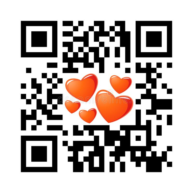 Jour de valentines heureux QR de code lisible de Smartphone avec des icônes de coeur illustration libre de droits