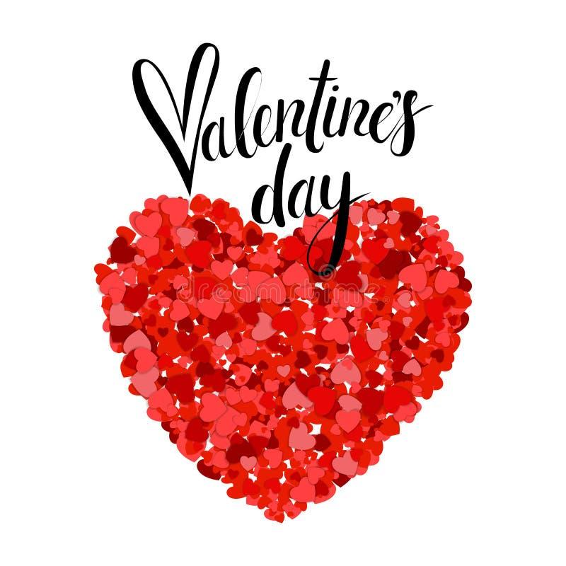 Jour de valentines marquant avec des lettres la carte de voeux sur le fond blanc Les petits coeurs rouges crée un grand Coeurs co illustration de vecteur