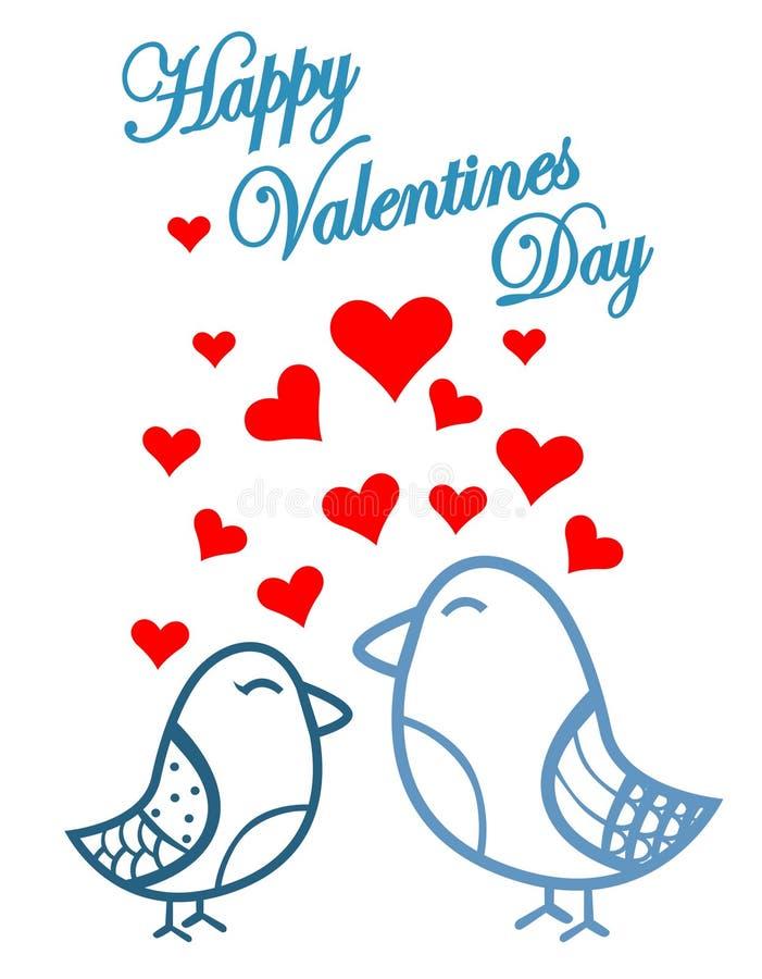 Jour de valentines mignon d'oiseaux illustration de vecteur