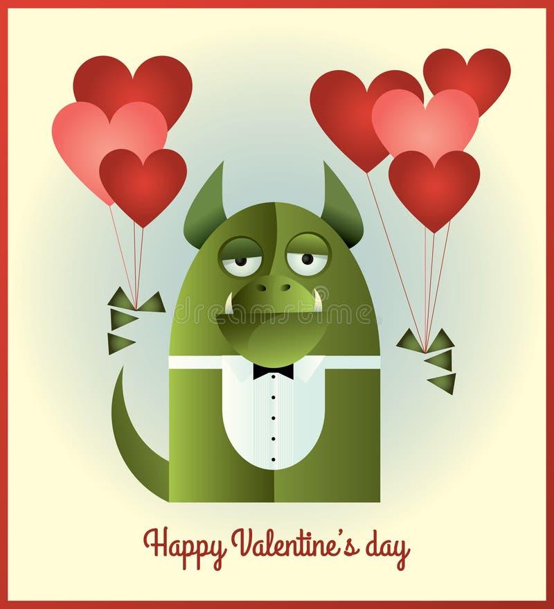 Jour de valentines vert de monstre illustration stock