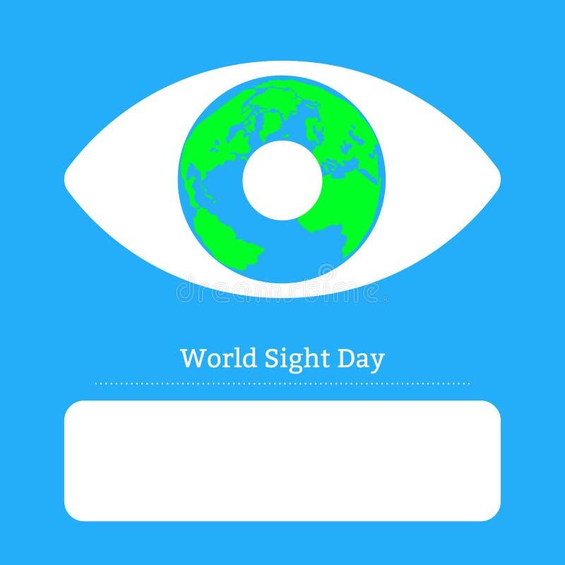 Jour de vue du monde Concept des vacances de santé Image symbolique de l'oeil L'iris est la terre de planète Place pour le texte illustration libre de droits