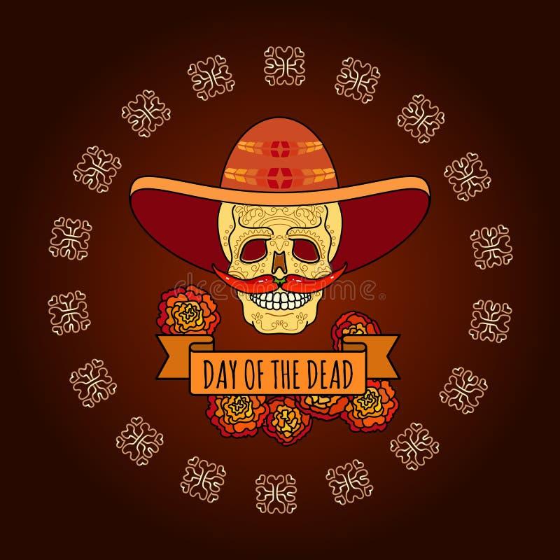Jour des morts Crâne dans le sombrero Vecteur illustration libre de droits