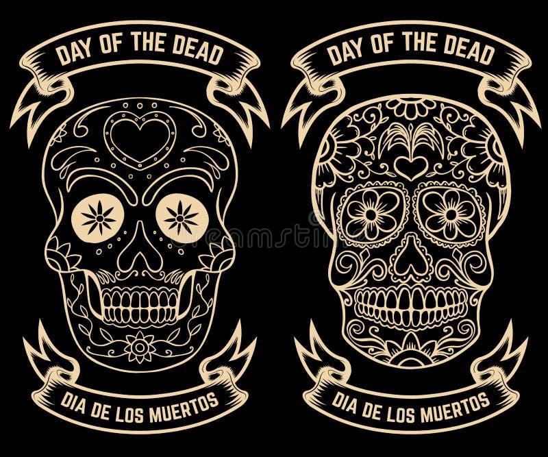 Jour des morts Dia de Los Muertos Ensemble des crânes de sucre Concevez les éléments pour l'affiche, carte de voeux, bannière Ill illustration stock