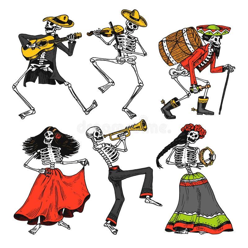 Jour des morts Vacances nationales mexicaines Inscription originale en Spanish Dia de los Muertos Squelettes dans des costumes illustration de vecteur