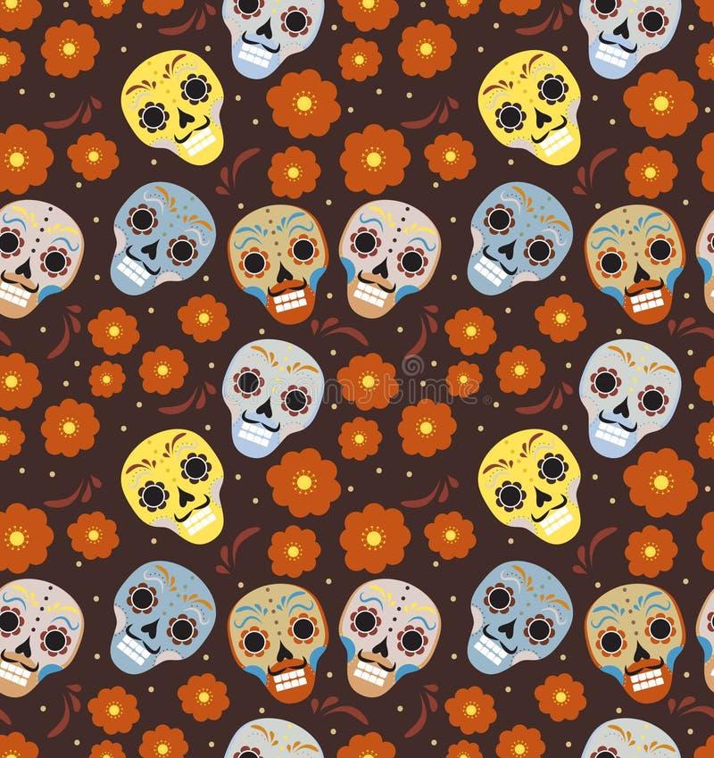 Jour des vacances mortes dans le modèle sans couture du Mexique avec des crânes de sucre Fond sans fin squelettique muertos de de illustration stock