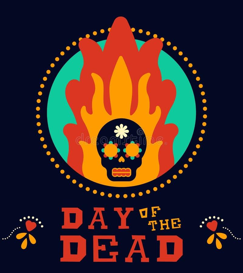 Jour du crâne mort de sucre du Mexique de vintage en feu illustration stock