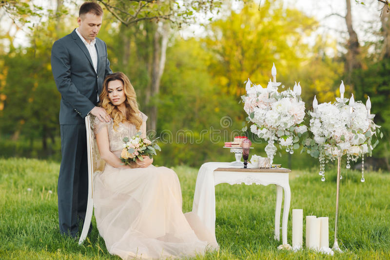 Jour du mariage d'amour de couples de mariage en nature photo stock