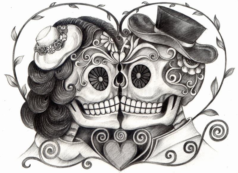 Jour du mariage d'art de crâne des morts illustration de vecteur