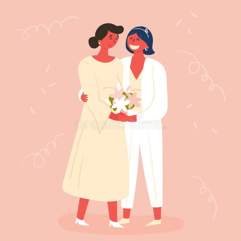 Jour du mariage, deux jeunes mariées Mariage lesbien de couples illustration de vecteur