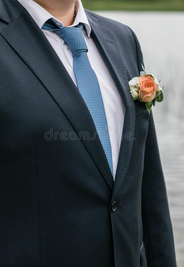 Jour du mariage Jeune marié sur la nature été photo stock