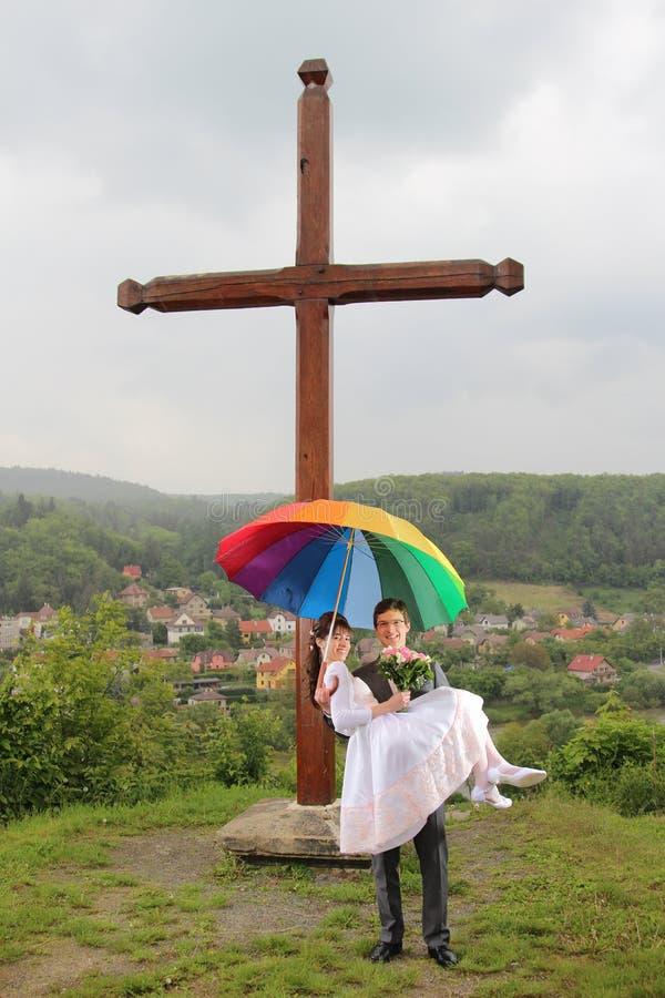 Jour du mariage pluvieux images libres de droits
