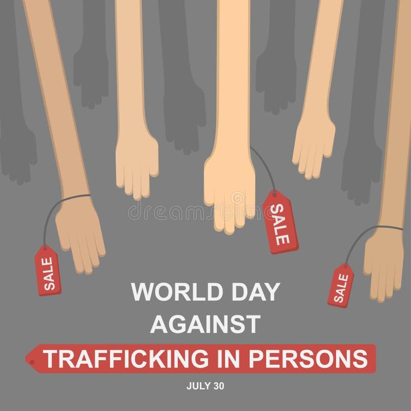 Jour du monde contre le trafic de personnes, le 30 juillet illustration libre de droits
