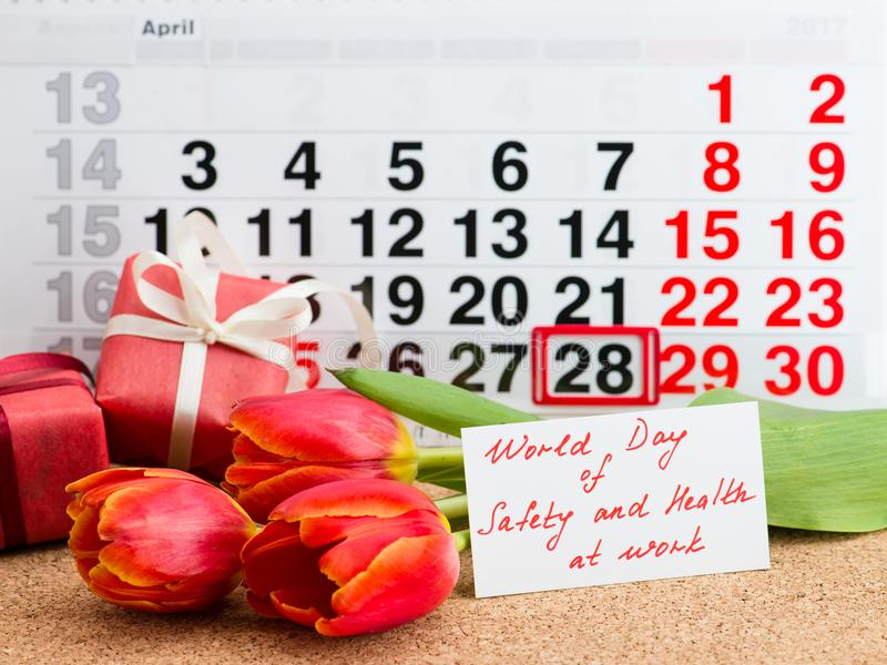 Jour du monde pour le travail de sécurité et santé photographie stock