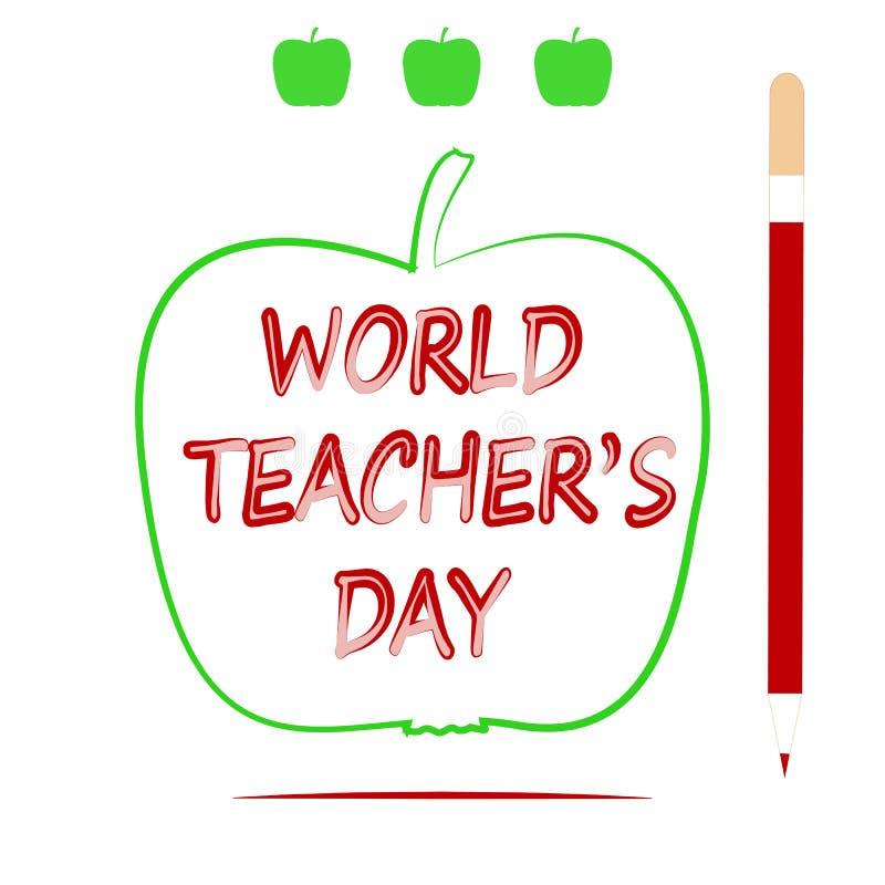 Jour du ` s de professeur du monde d'Apple, de crayon et d'inscription photos stock