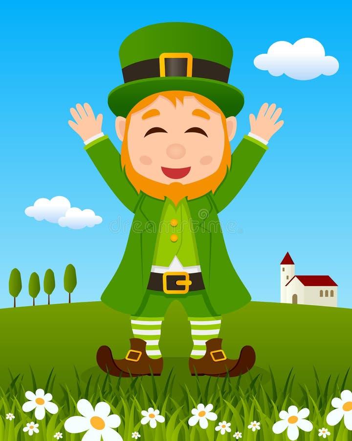 Jour du ` s de St Patrick avec le lutin heureux illustration libre de droits