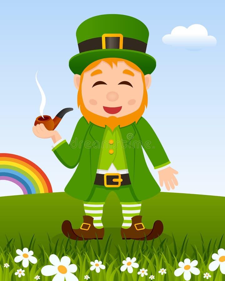 Jour du ` s de St Patrick avec le tabagisme de lutin illustration de vecteur