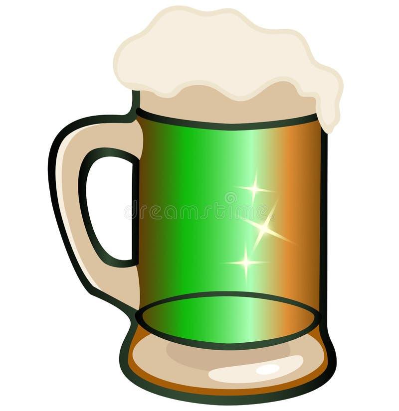 Jour du ` s de St Patrick Tasse en verre avec de la bière écumeuse illustration stock