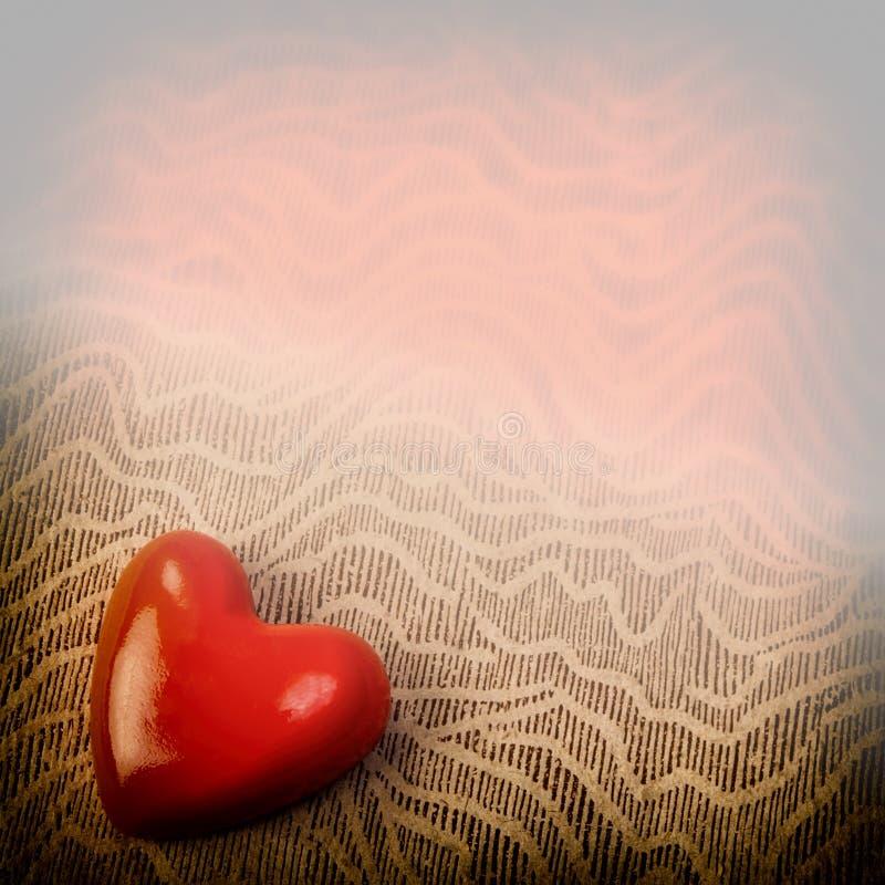 Jour du ` s de St Valentine postcard Coeur rouge Fond images libres de droits
