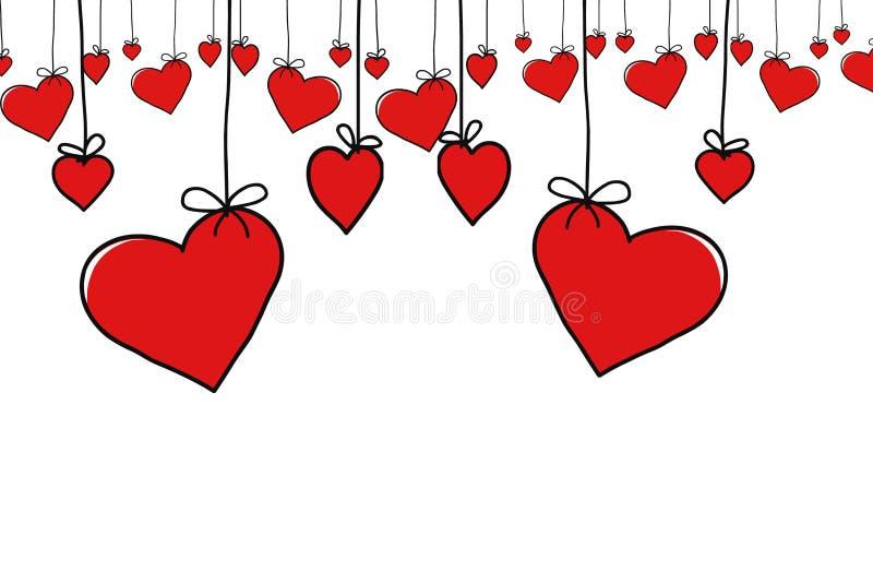 Jour du ` s de Valentine, cadre rouge de coeur illustration libre de droits