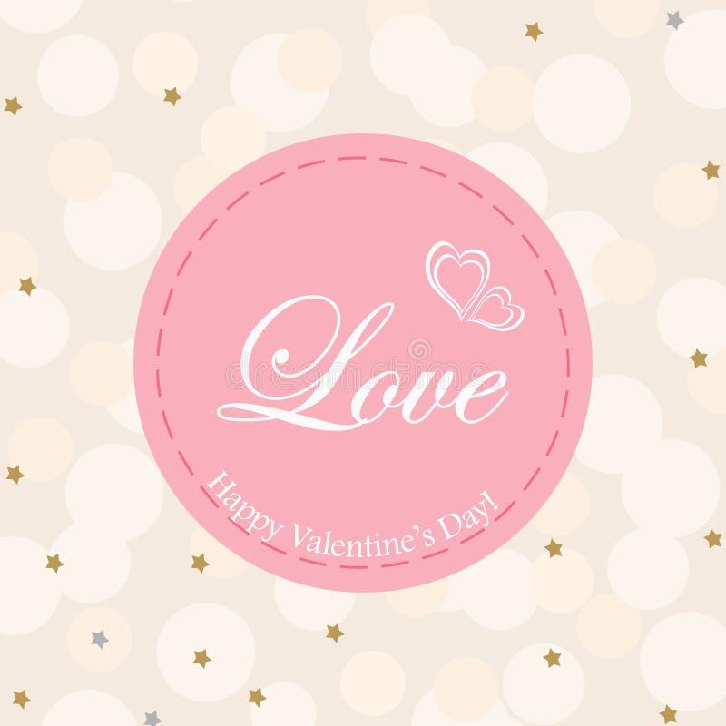 Jour du ` s de Valentine de carte postale Les mots de l'amour en cercle rose sur un fond beige avec briller se tient le premier r illustration libre de droits