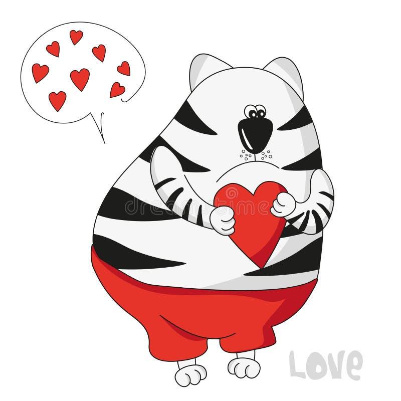 Jour du `s de Valentine Chat mignon dans l'amour à imprimer sur une carte postale, couverture illustration stock