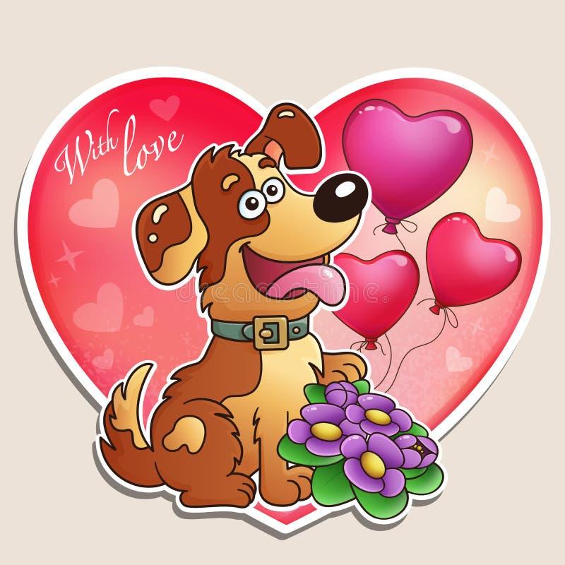 Jour du `s de Valentine Chien avec des fleurs et des ballons Carte de voeux pour des enfants image stock