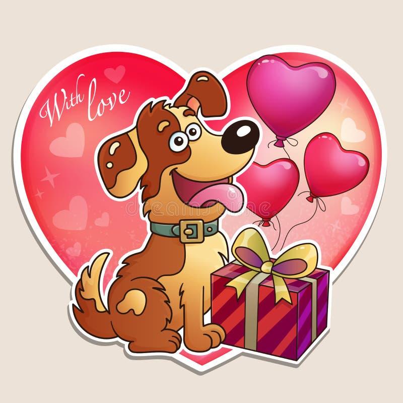 Jour du `s de Valentine Chien avec le cadeau et les ballons Carte de voeux pour des enfants image libre de droits