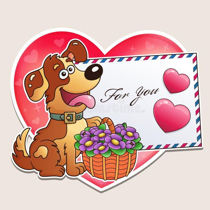 Jour du `s de Valentine Chien drôle avec le panier des fleurs et de la lettre Carte de voeux pour des enfants photographie stock libre de droits