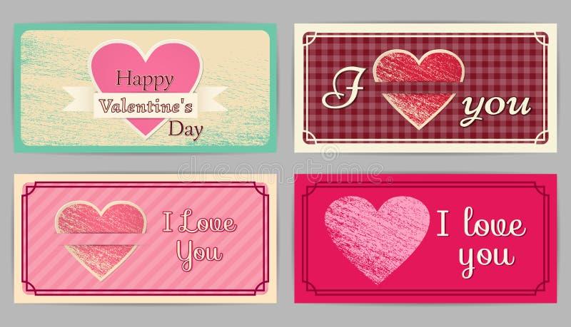 Jour du ` s de Valentine de vintage, cartes de mariage Illustration de vecteur illustration stock