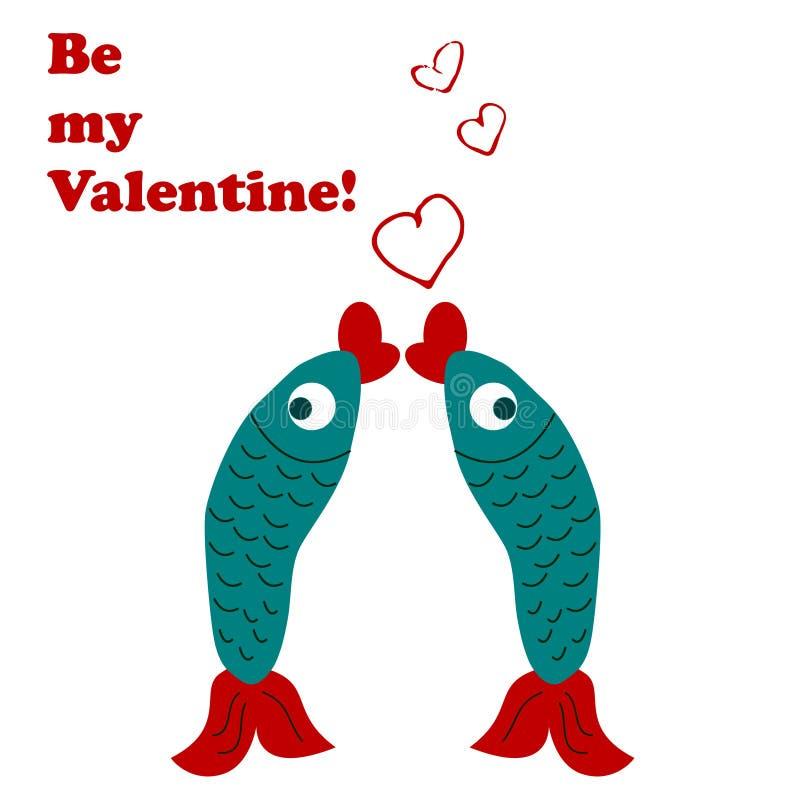 Jour du `s de Valentine Deux poissons illustration de vecteur