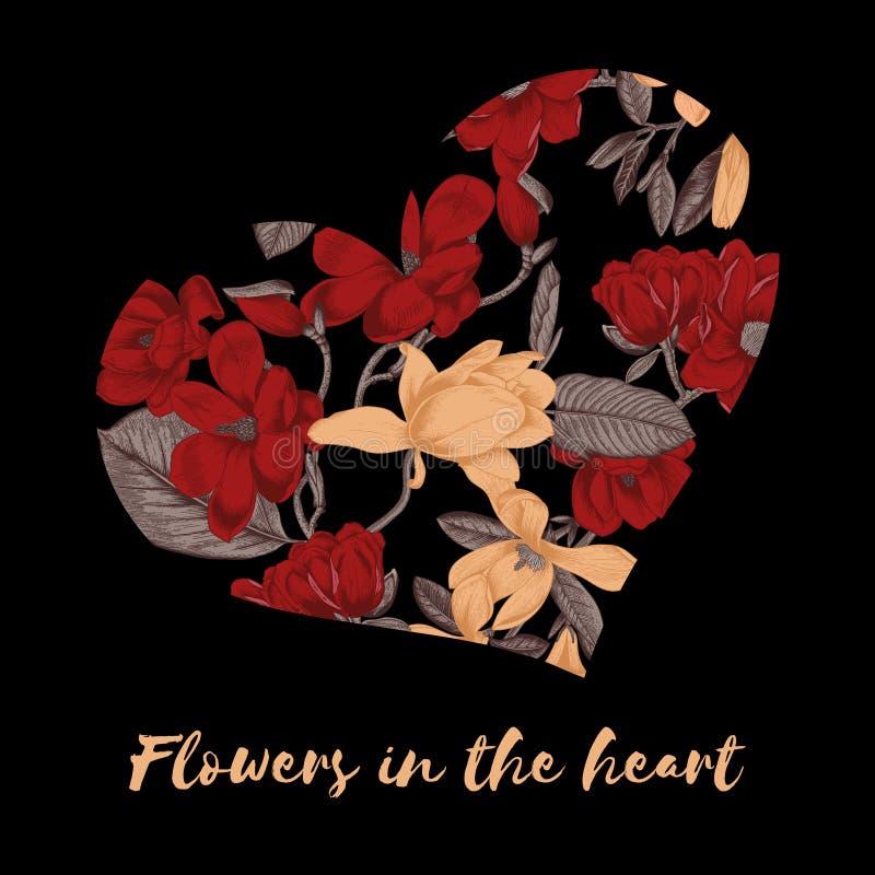 Jour du `s de Valentine Fleurs au coeur Carte de voeux avec le modèle floral Illustration dans le style de vintage Déclaration de illustration libre de droits