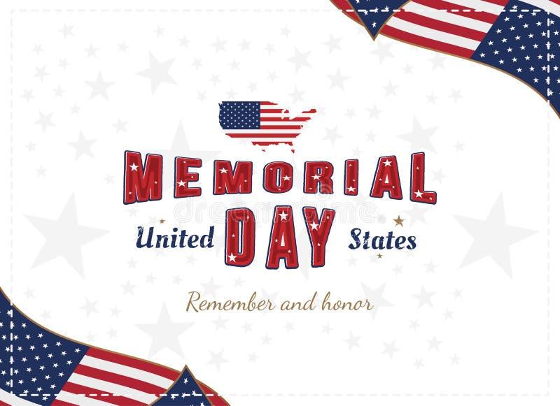 Jour du Souvenir heureux La carte de voeux avec la police originale et les Etats-Unis tracent et drapeau Calibre pendant des vaca illustration stock