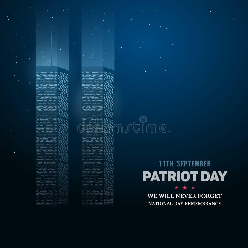 9/11 jour du souvenir du World Trade Center illustration de vecteur