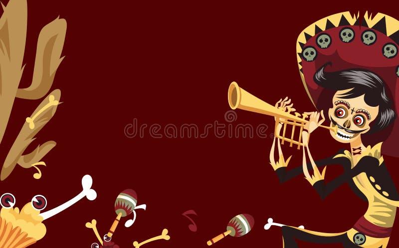 Jour du squelette mort d'homme jouant sur l'affiche de trompette illustration de vecteur
