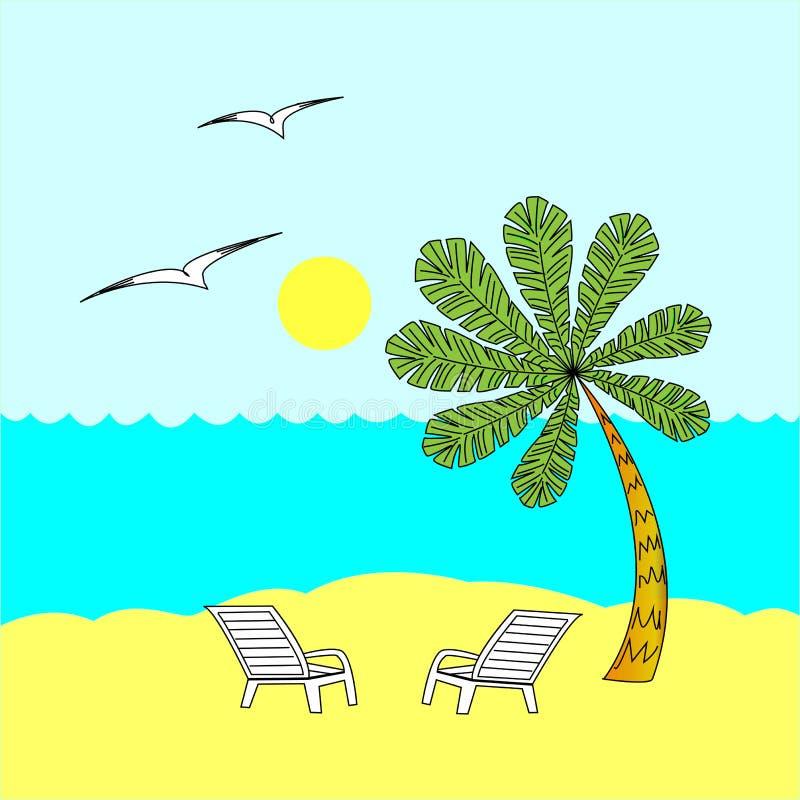 Jour ensoleillé de repos d'été Deux chaises de plate-forme sous le palmier Mer chaude Concept de relaxation Illustration de vecte illustration libre de droits