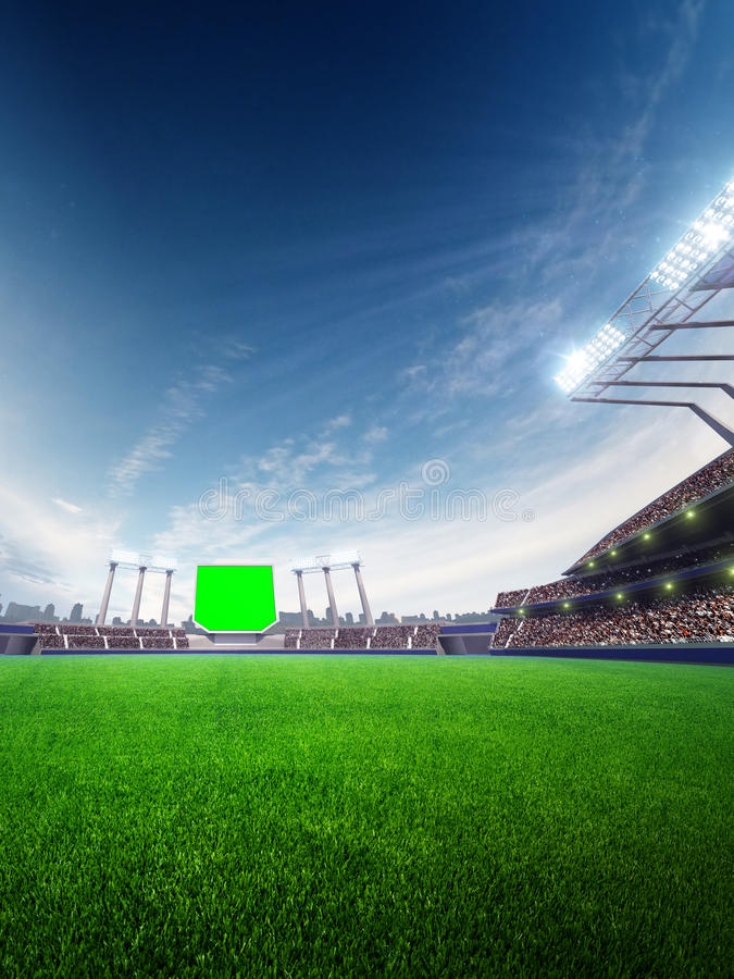 Jour ensoleillé de stade avec des fans de personnes l'illustration 3d rendent illustration stock
